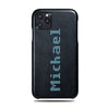 Personalized Bot Font iPhone 11 Pro Max Black Leather Case
