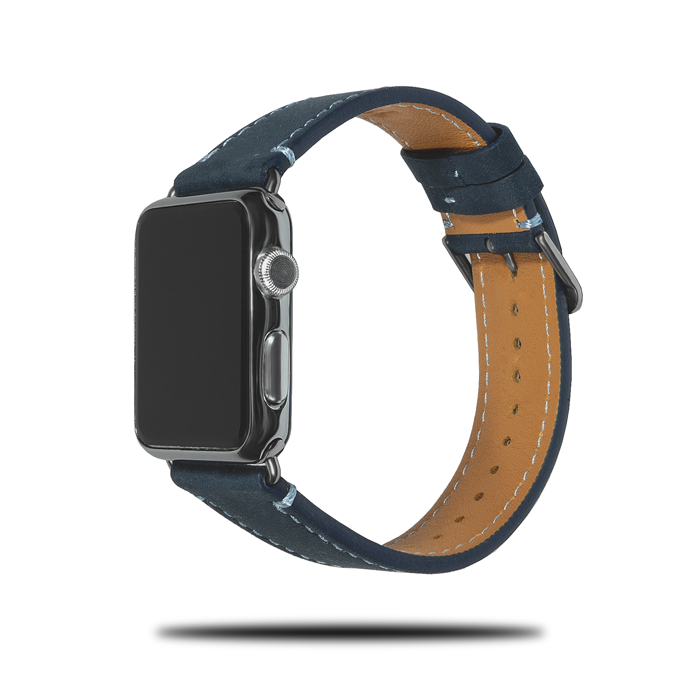 Egeerblå Suede Leather Apple Watch Band - 38 / 40MM-Apple Watch Band-Kulör Cases