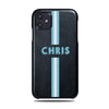 Personalized Hand Printed Blue Stripe iPhone 11 Black Leather Case