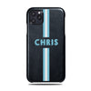 Personalized Hand Printed Blue Stripe iPhone 11 Pro Black Leather Case
