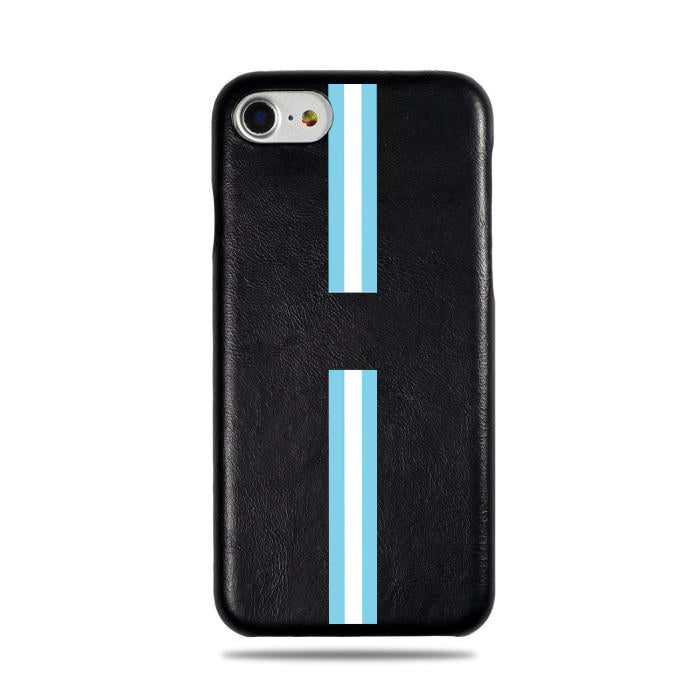 Personalized Blue Stripe iPhone SE 2 (2020) / iPhone 8 / iPhone 7 Black Leather Case-iPhone 7 Leather Snap-On Case-Kulör Cases