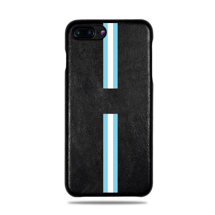 Personalized Blue Stripe iPhone 8 Plus / iPhone 7 Plus Black Leather Case