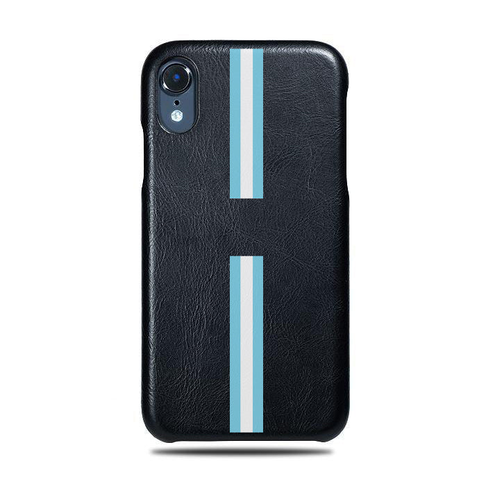 Personalized Hand Printed Blue Stripe iPhone XR Black Leather Case