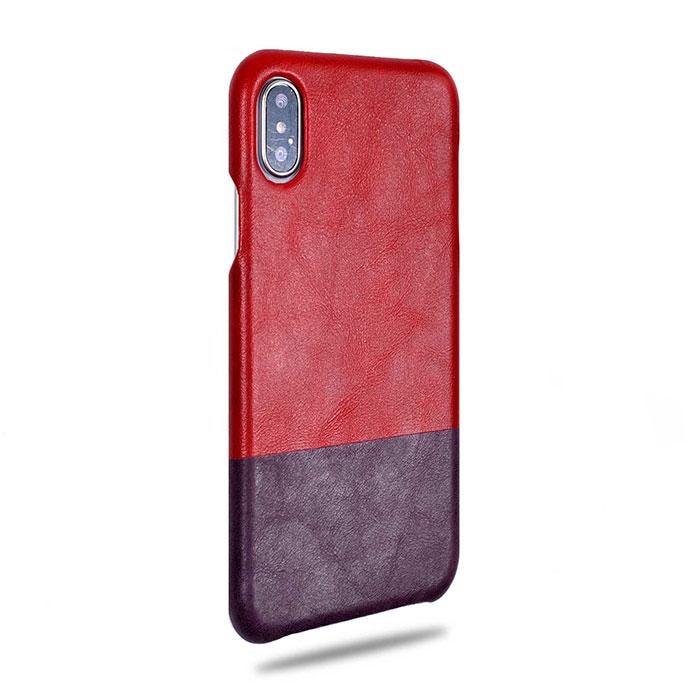 Crimson Red & Wine Purple iPhone Xs Max Leather Case-Kulör Cases