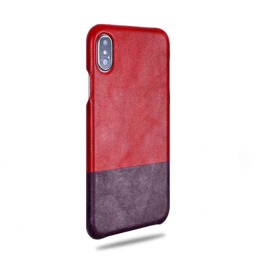 Kjøp Crimson Red & Wine Purple iPhone Xs / iPhone X Leather Deksel online -Kulör Cases