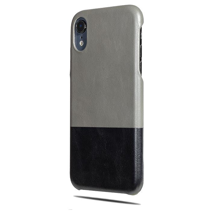 585d2174b Personalized Fossil Gray & Crow Black iPhone XR Leather Case - Kulör ...