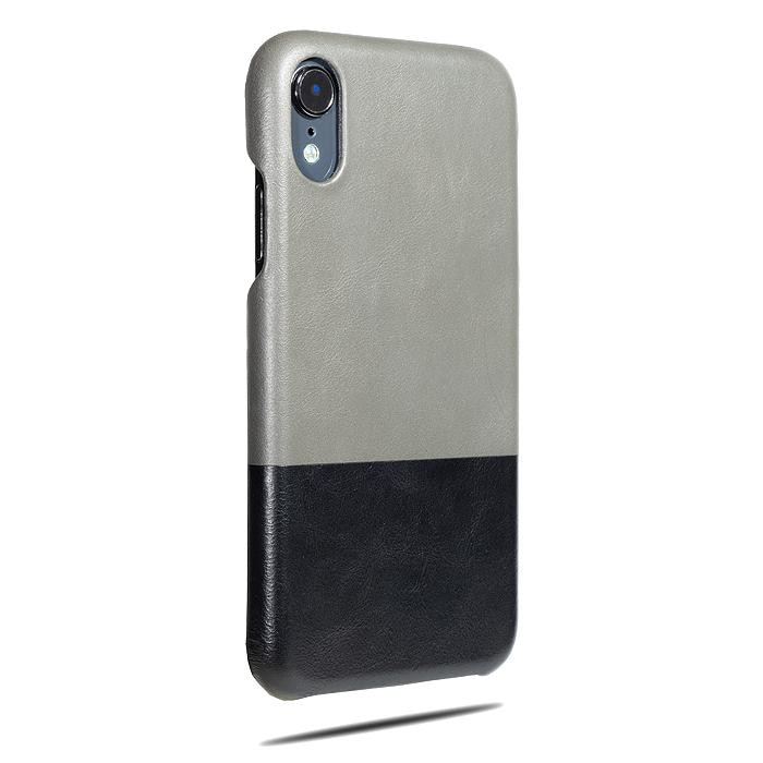 Fossil Gray & Crow Black iPhone XR Leather Case-Kulör Cases