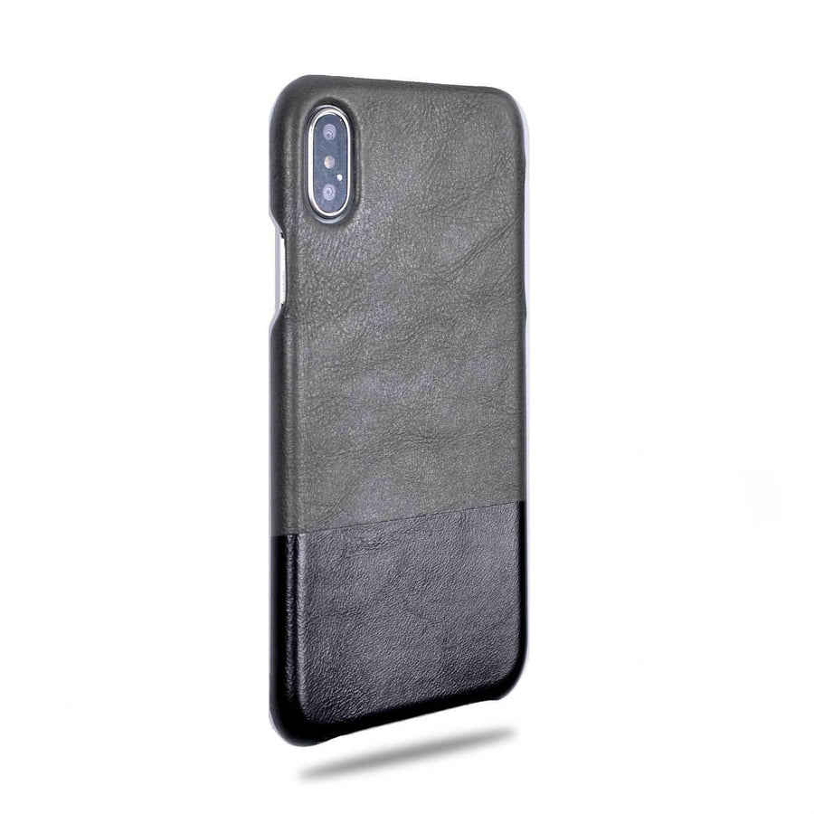 Fossil Gray & Crow Black iPhone Xs / iPhone X Leather Case-Kulör Cases