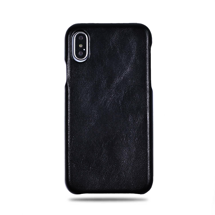 big sale 9bb12 0c5d5 All Black iPhone Xs / iPhone X Leather Case