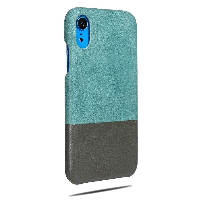 Buy personalized Ocean Blue & Pebble Gray iPhone XR Leather Case online-Kulör Cases