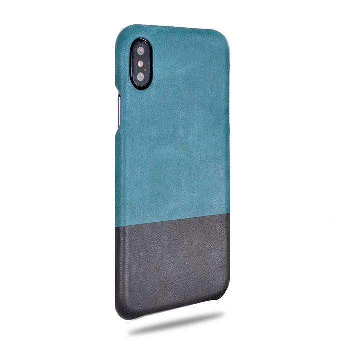 Ocean Blue & Pebble Gray iPhone Xs Max Leather Case-Kulör Cases