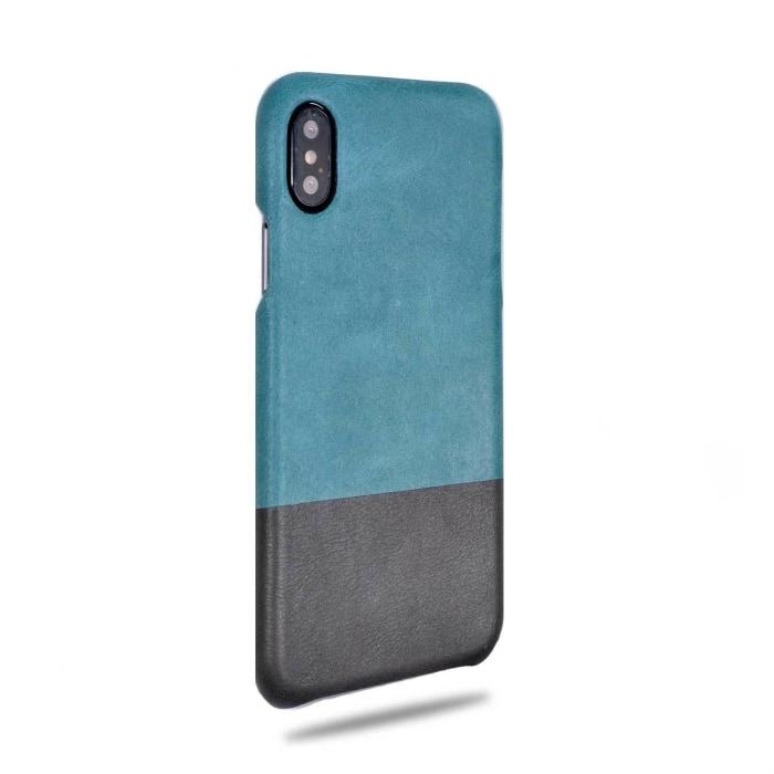 Kjøp personlig Ocean Blue & Pebble Grey iPhone Xs / iPhone X Lærveske online-Kulör Cases