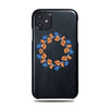 Personalized Orange & Blue Flowers iPhone 11 Black Leather Case