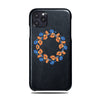 Personalized Orange & Blue Flowers iPhone 11 Pro Black Leather Case