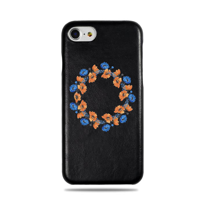 Personalized Orange & Blue Flowers iPhone SE 2 (2020) / iPhone 8 / iPhone 7 Black Leather Case-iPhone 7 Leather Snap-On Case-Kulör Cases
