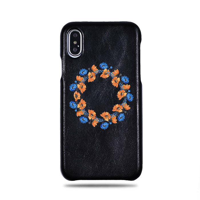Personalized Orange & Blue Flowers iPhone Xs / iPhone X Black Leather Case