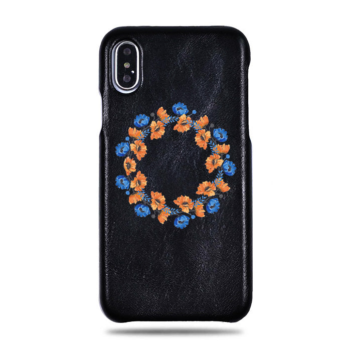 Personalized Orange & Blue Flowers iPhone Xs Max Black Leather Case