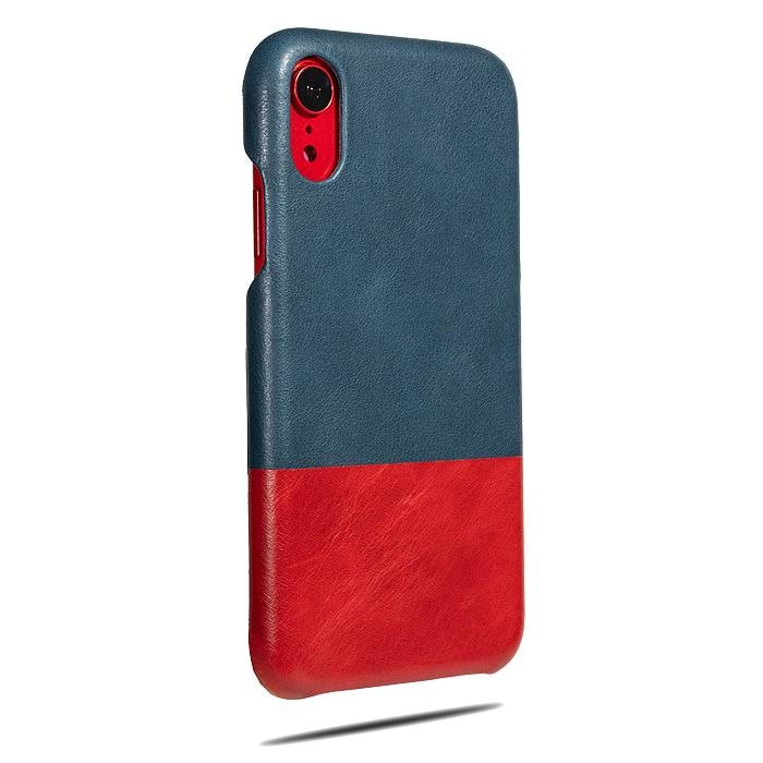 Peacock Blue & Crimson Red iPhone XR Leather Case-Kulör Cases
