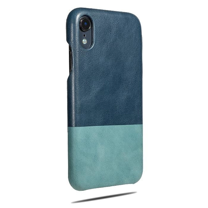 Peacock Blue & Ocean Blue iPhone XR Leather Case-Kulör Cases