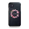 Personalized Pink Flowers iPhone 11 Black Leather Case