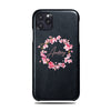 Personalized Pink Flowers iPhone 11 Pro Black Leather Case