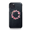 Personalized Pink Flowers iPhone 11 Pro Max Black Leather Case