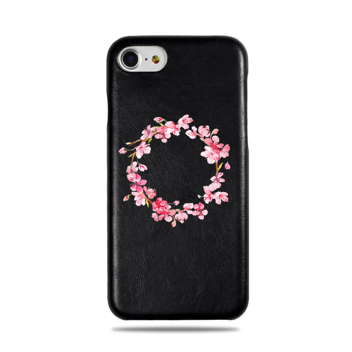 Personalized Pink Flowers iPhone SE 2 (2020) / iPhone 8 / iPhone 7 Black Leather Case-iPhone 7 Leather Snap-On Case-Kulör Cases