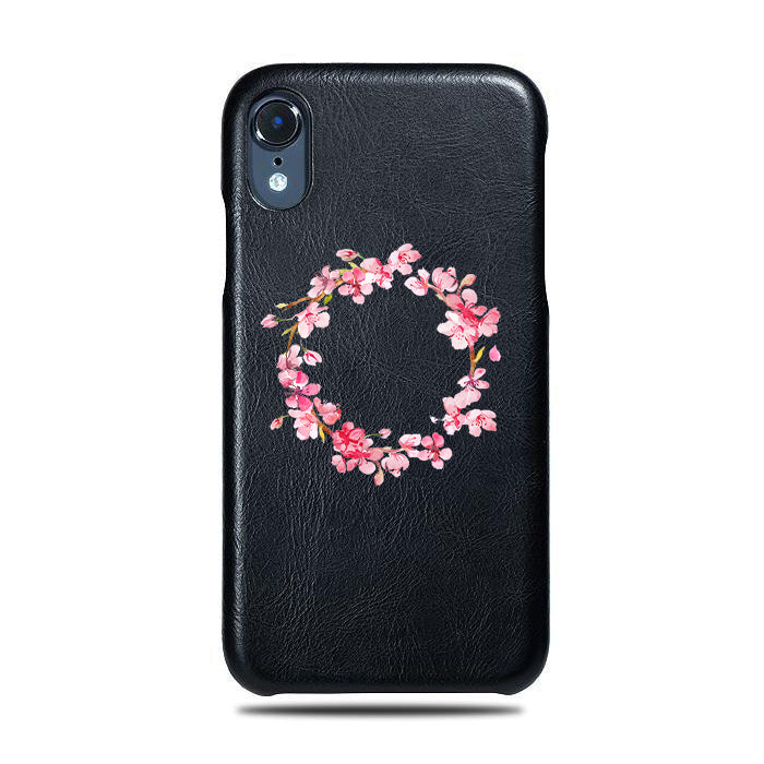 Personalized Pink Flowers iPhone XR Black Leather Case