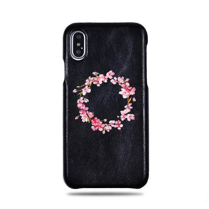 Personalized Pink Flowers iPhone Xs / iPhone X Black Leather Case
