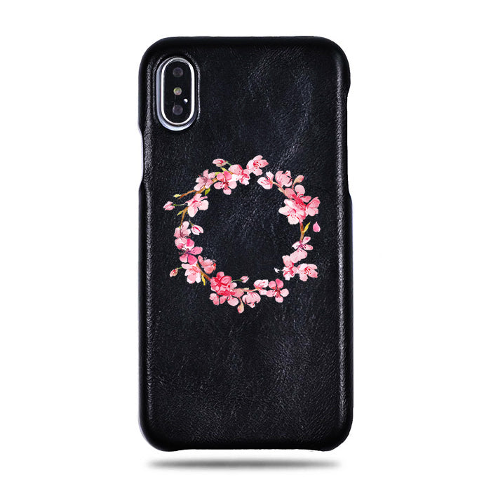 Personalized Pink Flowers iPhone Xs Max Black Leather Case
