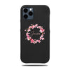Personalized Pink Flowers iPhone 12 Pro Max Black Leather Case