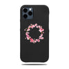 Personlig Apple iPhone-vesker-Personlige rosa blomster iPhone 12 Pro svart lærveske-iPhone 12 Pro lærveske med lær-Kulör Cases