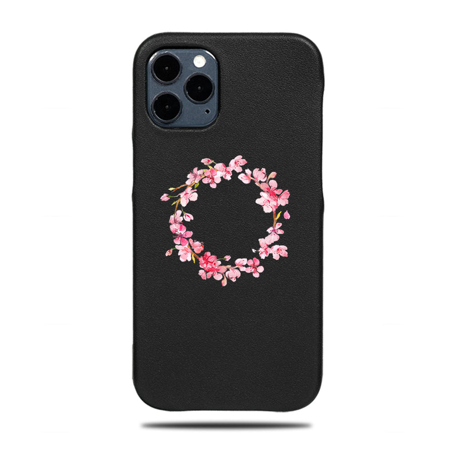 Personalized Pink Flowers iPhone 12 Pro Black Leather Case