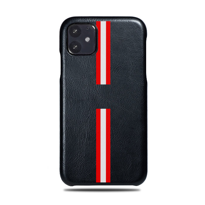 Personalized Red Stripe iPhone 11 Black Leather Case