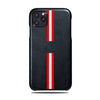 Personalized Red Stripe iPhone 11 Pro Max Black Leather Case