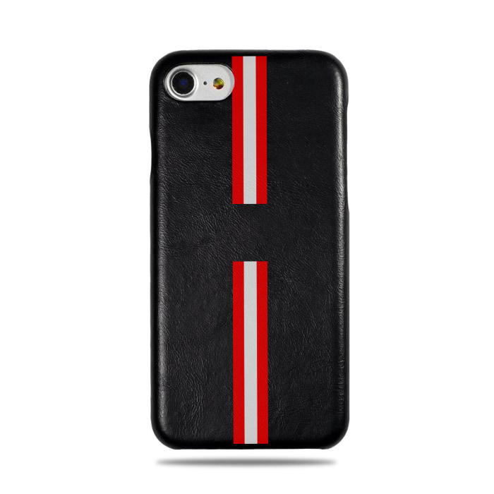 Personalized Red Stripe iPhone SE 2 (2020) / iPhone 8 / iPhone 7 Black Leather Case-iPhone 7 Leather Snap-On Case-Kulör Cases