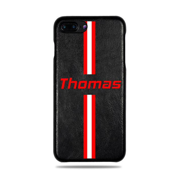 huge selection of 491f4 7062c Personalized Red Stripe iPhone 8 Plus / iPhone 7 Plus Black Leather Case