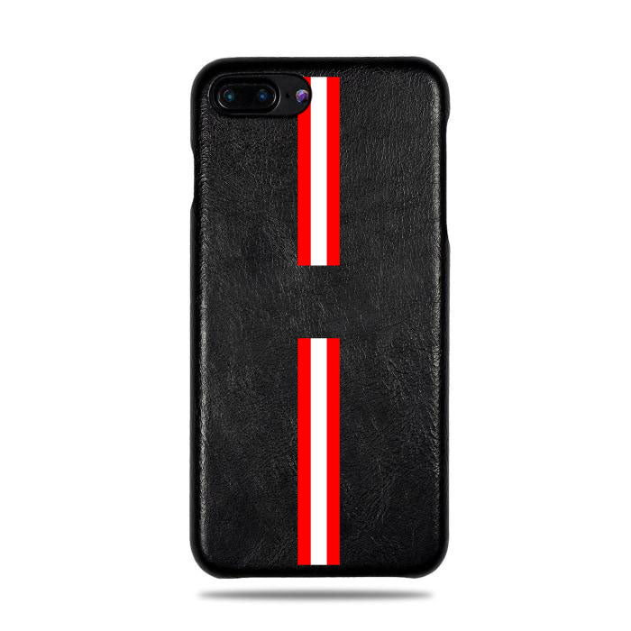 Personlig Red Stripe iPhone 8 Plus / iPhone 7 Plus Svart lærveske