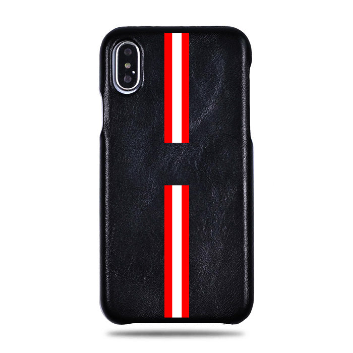 Personlig Red Stripe iPhone Xs Max Svart lærveske