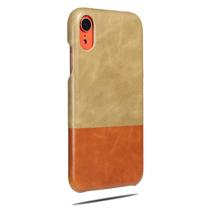 Buy personalized Sage Green & Walnut Brown iPhone XR Leather Case (Restock: End of Feb) online-Kulör Cases
