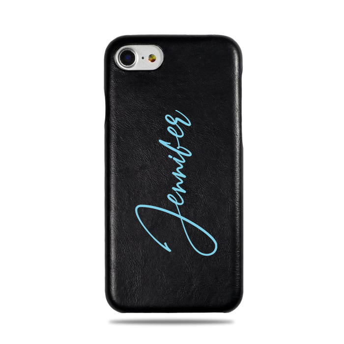 Personalized Signature iPhone SE 2 (2020) / iPhone 8 / iPhone 7 Black Leather Case-iPhone 7 Leather Snap-On Case-Kulör Cases