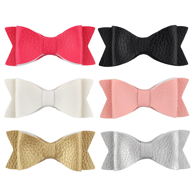 6 Leather Bow Clippies!