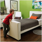 modern upholstered dorma twin bed white bonded leather body