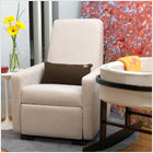 modern upholstered grano glider recliner and bassinet - stone body and brown pillow