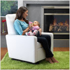 modern upholstered grano glider - white bonded leather body