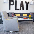 modern upholstered grazia glider and ottoman - pebble grey body with yellow piping