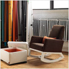 modern upholstered joya rocker - brown body with white base and storage ottoman