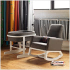 modern upholstered joya rocker and bassinet - charcoal body with white base