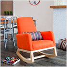 modern upholstered joya rockers - orange body with maple base and clear finish