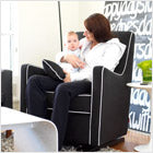 modern upholstered luca glider - black body and white piping